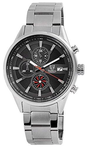 Pierrini Armbanduhr Stoppfunktion 24 Std Anzeige Datumsanzeige Quarzwerk Silbernes Edelstahlgehaeuse und Zifferblatt in anthrazit 47 mm 291071500006