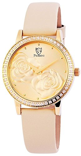 Pierrini Damen Analog Echtleder Armbanduhr in beige gold Echtlederband 34 mm 192204000001