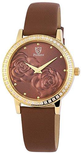 Pierrini Damen Analog Echtleder Armbanduhr in braun gold Echtlederband 34 mm 192207000001