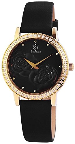Pierrini Damen Analog Echtleder Armbanduhr in schwarz gold Echtlederband 34 mm 192201000001