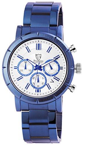 Pierrini Armbanduhr Stoppfunktion Wochentagsanzeige Datumsanzeige Quarzwerk Blaues Edelstahlgehaeuse Silbernes Zifferblatt Mineralglas 45 mm 291092500004