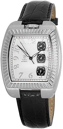 Pierrini Uhr watch Armbanduhr Echtlederarmband Silber 385722129009