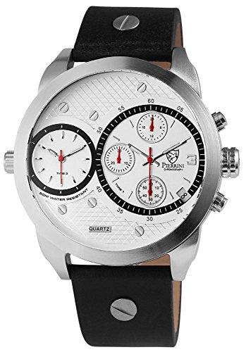 Pierrini mit 2 Zeitzonen Stoppfunktion Datumsanzeige 24 Std Anzeige schwarzem Lederarmband weissem Ziffernblatt 291022500012 Farbe5
