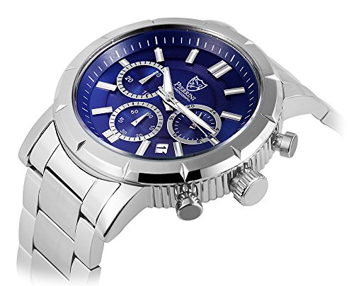Pierrini Chronograph Stoppfunktion Wochentagsanzeige Datumsanzeige Quarzwerk Edelstahl Gehaeuse Blaues Zifferblatt Mineralglas 45 mm 291023000004