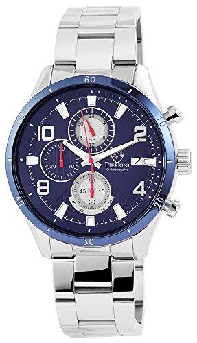 Pierrini Armbanduhr Stoppfunktion Wochentagsanzeige Datumsanzeige Quarzwerk Silbernes Edelstahlgehaeuse und Zifferblatt in blau 47 mm 291023000003