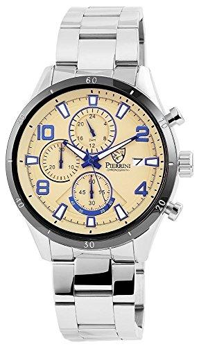 Pierrini Armbanduhr Stoppfunktion Wochentagsanzeige Datumsanzeige Quarzwerk Silbernes Edelstahlgehaeuse und Zifferblatt in beige sowie blaue Indexe 47 mm 291027500003