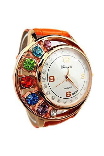 Armbanduhr gerryda Damenmode Luxus Bunt Strassstein Uhr Kunstleder Band Quarz Kleid Uhr Armbanduhr Orange