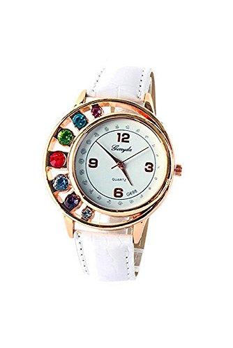 Armbanduhr gerryda Damenmode Luxus Bunt Strassstein Uhr Kunstleder Band Quarz Kleid Uhr Armbanduhr Weiss