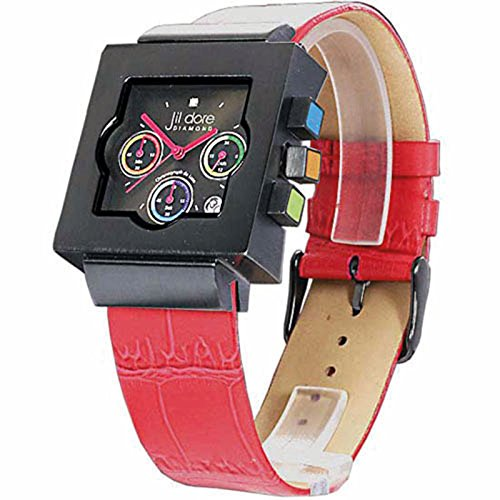 Jil Dore Lancefield red schwarze Herrenarmbanduhr mit rotem Lederarmband und echtem Diamanten im Zifferblatt