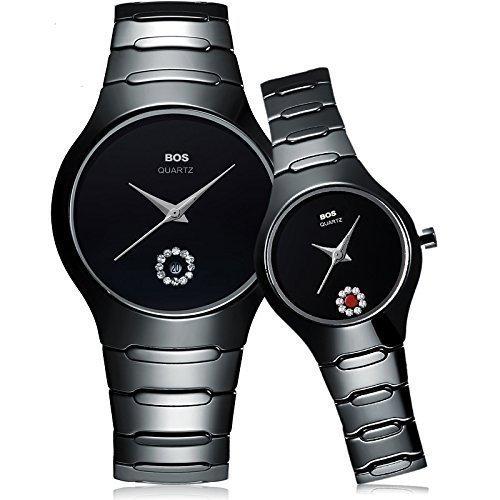 Ehepaar Uhren Schwarz Keine Dial Einfache Quarz Armbanduhr fuer Frauen Herren