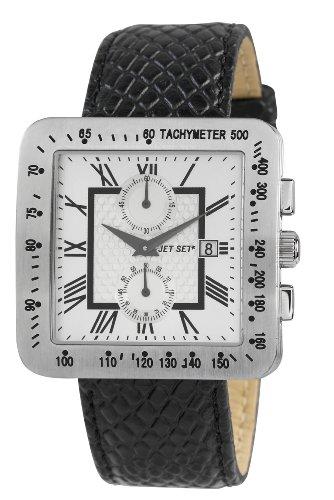 Jet Set J30211 127 Torino Armbanduhr Quarz Chronograph Zifferblatt Silber Armband Leder Schwarz