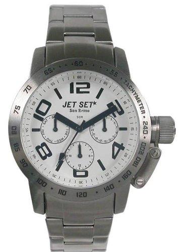 Jet Set J30644 132 San Remo Dame Quarz Chronograph Weisses Ziffernblatt Armband Stahl Silber