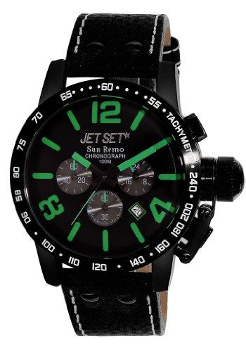 Jet Set j8358b 437 Herren Uhr Chronograph Quarz mit Lederarmband Schwarz