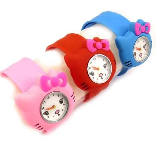 3 klapsuhren Hello Kittyblau, rot, rosa