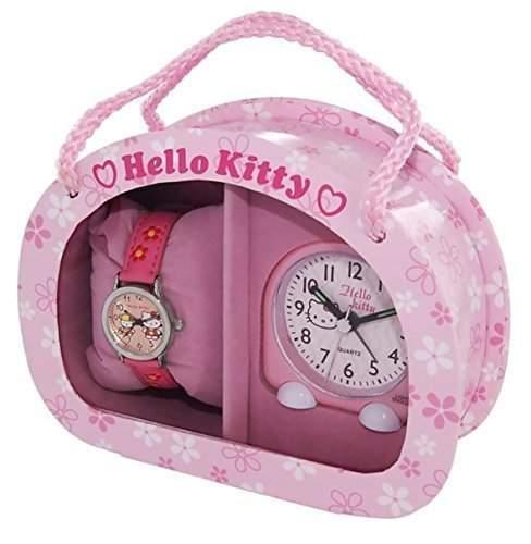 Hello Kitty Maedchen - Armbanduhr Analog Quarz Geschenkset fuer Maedchen Rosa