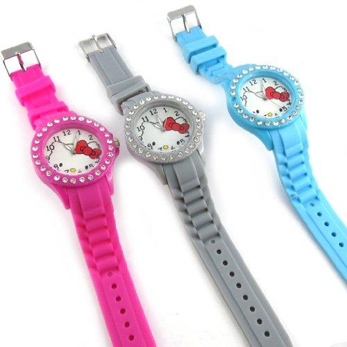 3 designer uhren Hello Kittyblau grau pink