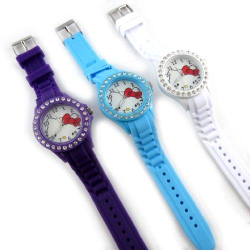 3 designer uhren Hello Kittylila blau weiss