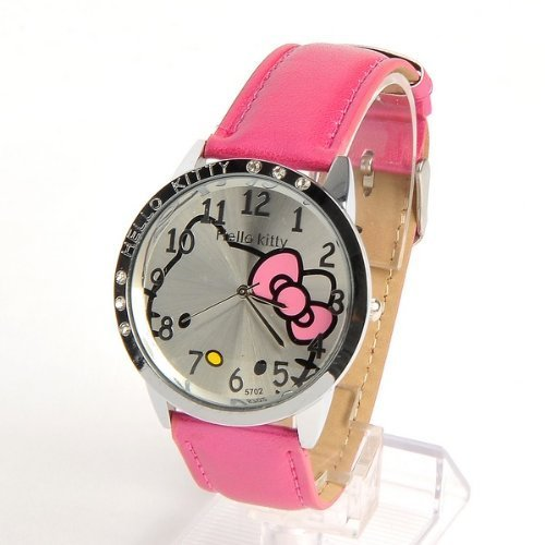 Hello Kitty Armbanduhr Quarzuhr Rund Zifferblatt Rosa