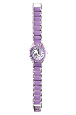 Hello Kitty Maedchen Armbanduhr Analog Edelstahl violett 24719