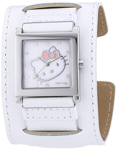 Hello Kitty Maedchen-Armbanduhr Hyuga White Analog Quarz Leder HK1774-141