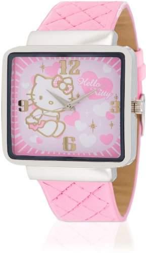 Hello Kitty Maedchen-Armbanduhr Kami Pink Analog Quarz Kunstleder HK9010-535