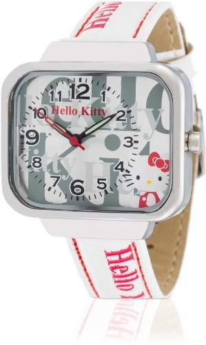 Hello Kitty Maedchen-Armbanduhr Kami White Analog Quarz Kunstleder HK1832-661