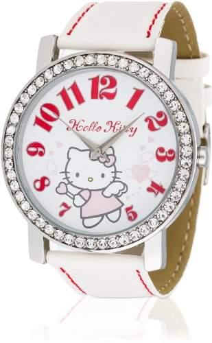 Hello Kitty Maedchen-Armbanduhr Makurazaki White Analog Quarz Kunstleder HK3174-111