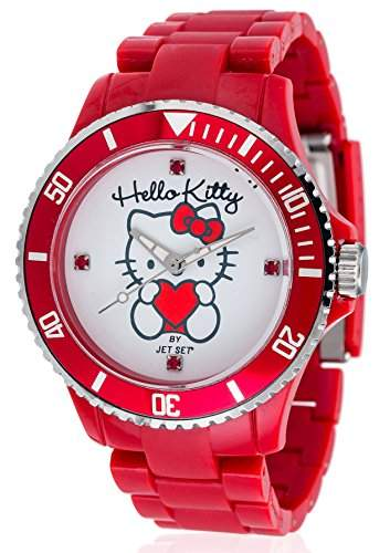 Hello Kitty Maedchen-Armbanduhr Obi Red Analog Quarz Plastik JHK1004-22