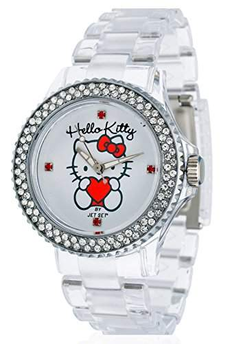 Hello Kitty Maedchen-Armbanduhr Uto Transparent Analog Quarz Plastik JHK9904-17