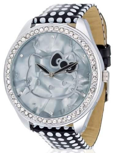 Hello Kitty Maedchen-Armbanduhr Yae Black Analog Quarz Kunstleder HK480S-267