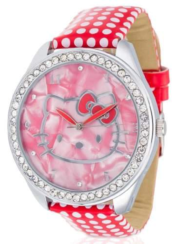 Hello Kitty Maedchen-Armbanduhr Yae Red Analog Quarz Kunstleder HK480S-868