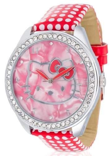 Hello Kitty Maedchen-Armbanduhr Yae Red Analog Quarz Kunstleder HK480S-868
