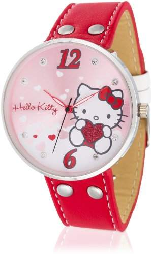 Hello Kitty Maedchen-Armbanduhr Yowara Red Analog Quarz Kunstleder HK9004-568