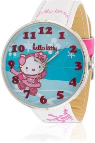 Hello Kitty Maedchen-Armbanduhr Yowara White Analog Quarz Kunstleder HK9004-361