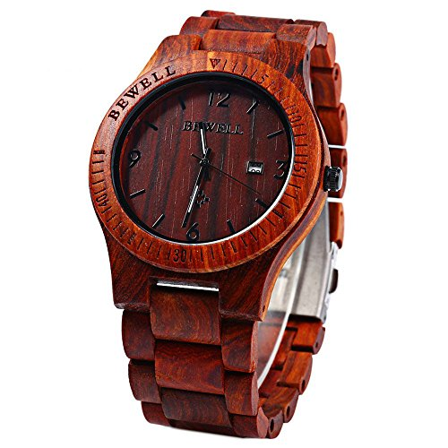 Koiiko BEWELL Men Wooden Watch Wood Gents Watches Analog Quartz Movement Date Display Wristwatches Red Sandalwood
