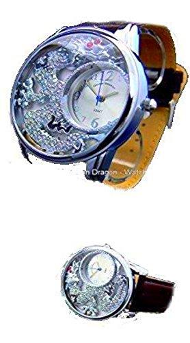 Silberne Drachenuhr Strasszifferblatt