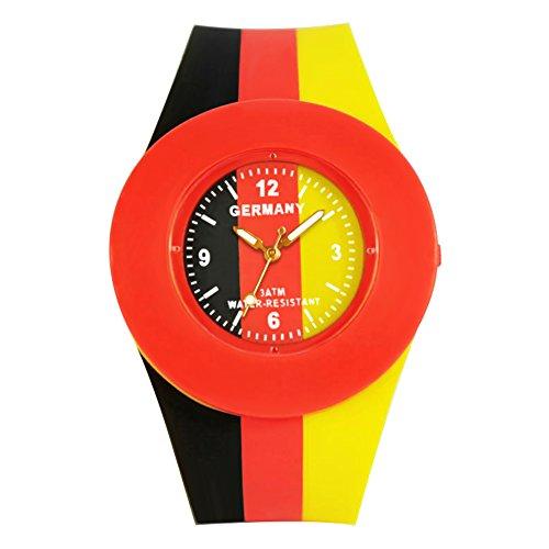 ELLEMKA aMaZe 324 Deutschland Uhr Quarz Zeit Anzeige analog Silikon Armbanduhr Trend Style Sport Event Fan Supporter Fanartikel Farben schwarz rot gold Unisex Damen Herren Fussball OVP