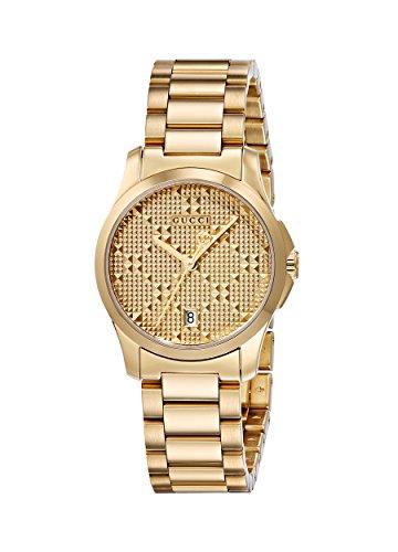 Gucci Damen Armbanduhr G Timeless Analog Quarz Edelstahl beschichtet YA126553