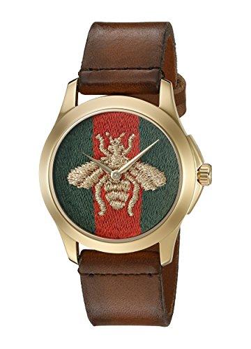 Gucci Unisex Armbanduhr G TIMELESS Analog Quarz Leder YA126451
