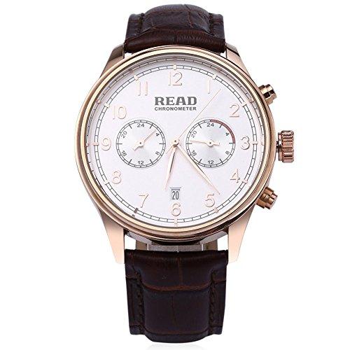 Leopard Shop Lesen r2070g Stecker Quarz Business Watch Chronometer Echt Leder Band 30 m Wasser Widerstand Armbanduhr Weiss