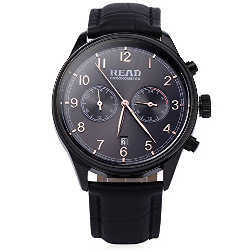 Leopard Shop Lesen r2070g Stecker Quarz Business Watch Chronometer Echt Leder Band 30 m Wasser Widerstand Armbanduhr Schwarz