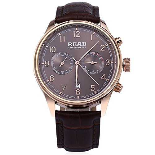 Leopard Shop Lesen r2070g Stecker Quarz Business Watch Chronometer Echt Leder Band 30 m Wasser Widerstand Armbanduhr Kaffee