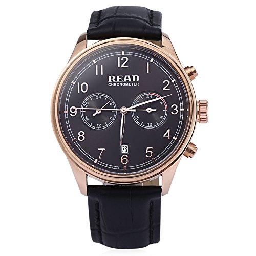 Leopard Shop Lesen r2070g Stecker Quarz Business Watch Chronometer Echt Leder Band 30 m Wasser Widerstand Armbanduhr Grau