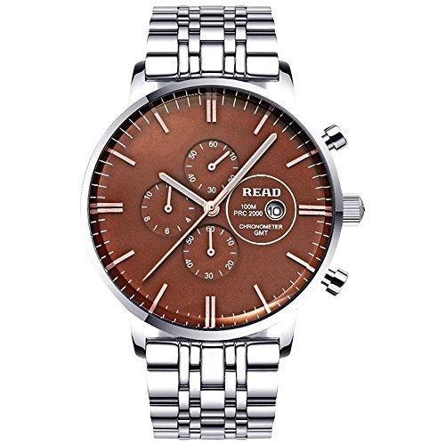 Lesen Multifunktionale Armbanduhr Waterproo R7006 sliver tone blau Zifferblatt