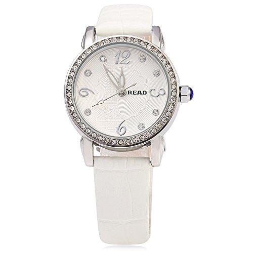 Leopard Shop Lesen r21430 Frauen Quarzuhr Kuenstliche Diamant Zifferblatt 3 ATM Luminous Armbanduhr Weiss