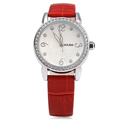 Leopard Shop Lesen r21430 Frauen Quarzuhr Kuenstliche Diamant Zifferblatt 3 ATM Luminous Armbanduhr Rot
