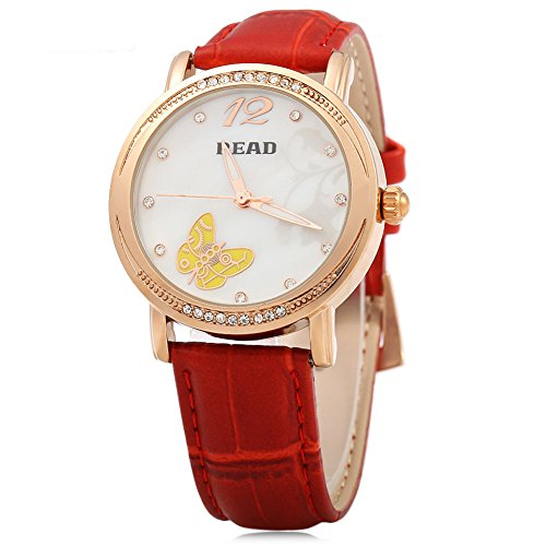 Leopard Shop Lesen r21494 Frauen Quarzuhr Luminous Kuenstliche Diamant Zifferblatt 3 ATM Armbanduhr Rot