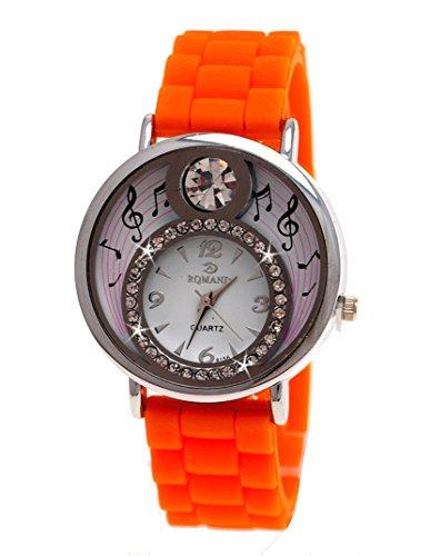 Einzigartige Damen Silikon Uhr mit Strass in Orange Model Melody