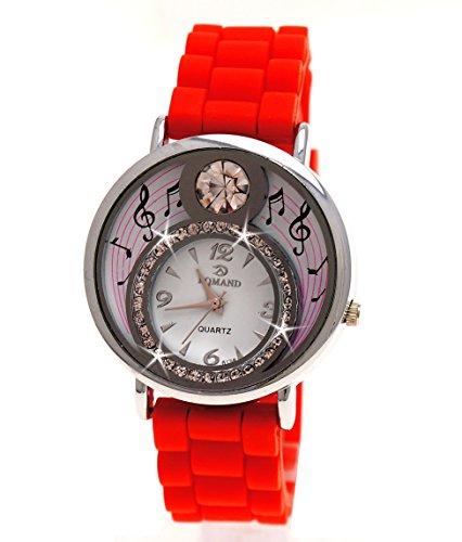 Einzigartige Damen Silikon Uhr mit Strass in RotModel Melody