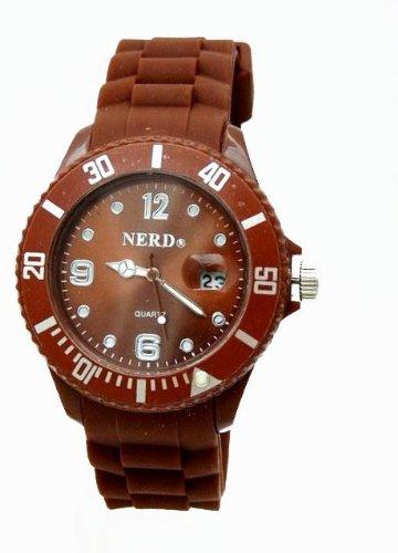NERD Armbanduhr mit Datum in Kaffee Braun K80